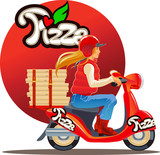 pizza delivery blond girl , red scutter