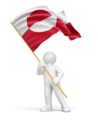 Man and Greenland flag (clipping path included)