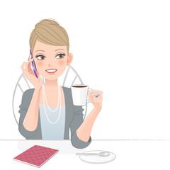 女性 スマートフォン 通話 Beautiful executive woman talking on the phone