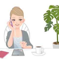 女性 スマートフォン 通話 Woman talking on the phone with touch pad