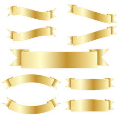 RETRO VECTOR RIBBONS (button icon gold banner)