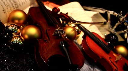 A violin in the showcase.