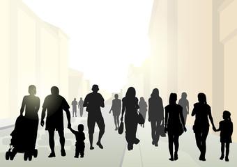 Urban street and pedestrians