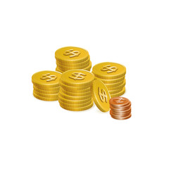 Dollar and Cent Coin Stack Vector Icons