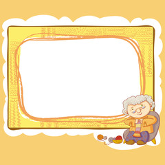 Grandma And Knitting Frame.