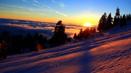 High mountains sunset.