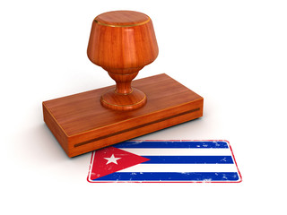 Rubber Stamp Cuban flag (clipping path included)