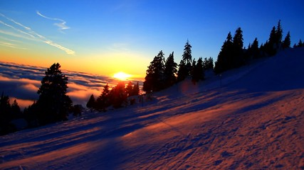 Sunset in the high mountains.