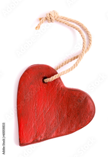 Vintage red heart isolated