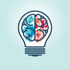 Creative Light Bulb Left and Right Brain Idea Icon