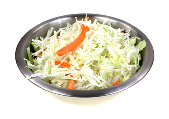 Coleslaw Stainless Steel Mixing Bowl Angle On White
