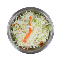 Coleslaw Stainless Steel Mixing Bowl Top View On White