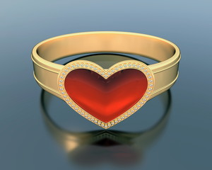 3d gold ring with a heart shape ruby