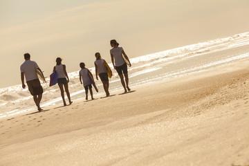 Family Parents Girl Children Surfboards on Beach