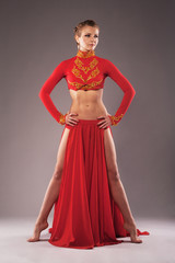 Gorgeous sporty woman in red clothing