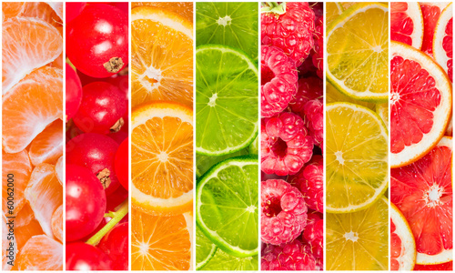 Collage of fresh summer fruit
