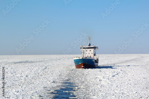 Ship in winter sea