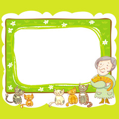 Grandma And Cats Frame.