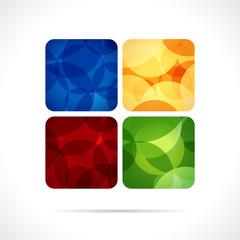 Quatre carrés de couleur avec motif cercles