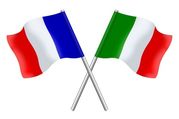 Drapeaux : duo France Italie