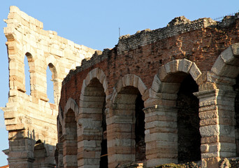 detail of the ancient Roman landmark building in brick