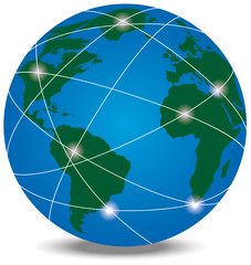 Globe with trading paths and points
