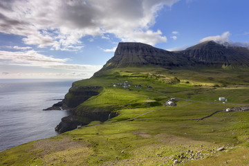 Faroe Islands, remote village on steep cliffs overlooking the se
