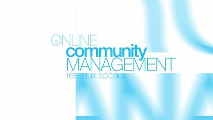 Community management modérateur nuage de mots animation
