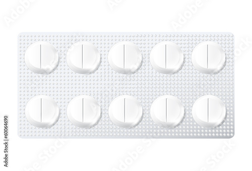medical pills (tablets) in the package. Vector.