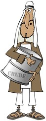 Arab man holding a barrel of crude