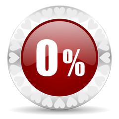 0 percent valentines day icon