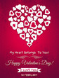 Red valentines day greeting card  with  white heart and wishes t