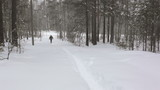 A man walks on a very snow-covered forest path