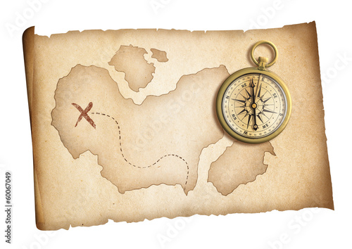 old treasure map with brass compass isolated on white