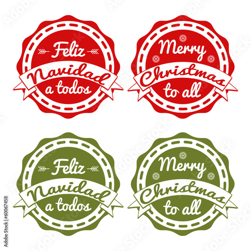 xmas tag in English and Spanish