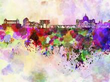 Rome skyline en fond d'aquarelle