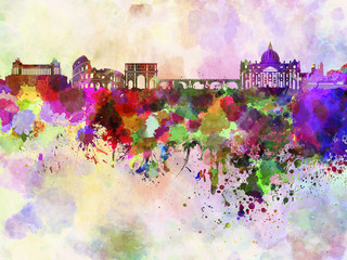 Rome skyline in watercolor background