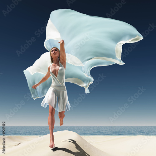 woman with a white tissue on the beach