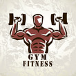 bodybuilder, athlete exercising symbol