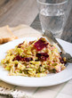 Cabbage, beetroot and seeds salad