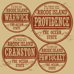 Grunge rubber stamp set with names of Rhode Island cities