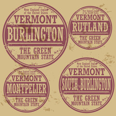 Grunge rubber stamp set with names of Vermont cities