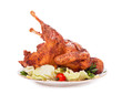 Baked chicken on white background