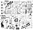 doodles funny music background, design elements