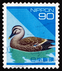 Postage stamp Japan 1992 Eastern Spot-billed Duck