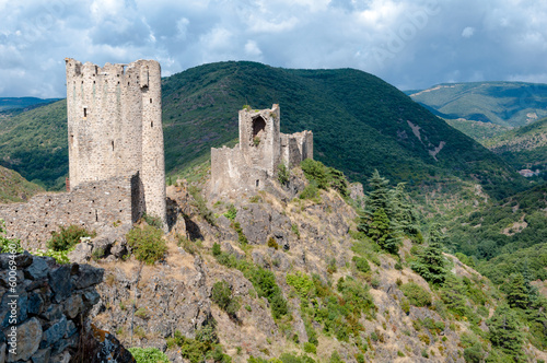 La Tour Regine and Cabaret towers on great mountains landscape a