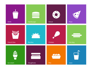 Fast food icons on color background.