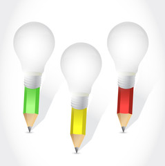 light bulb colors pencil illustration design