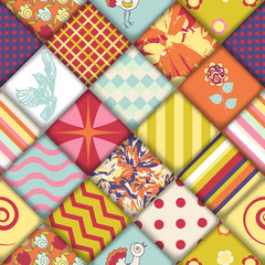 Quilt block seamless pattern