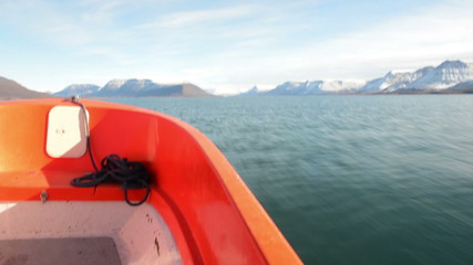 On a dinghy in Greenland